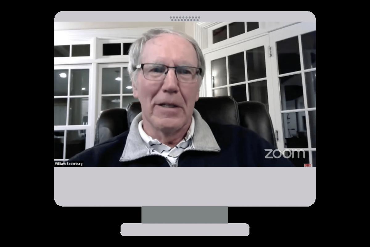 Bill Sederburg on computer monitor
