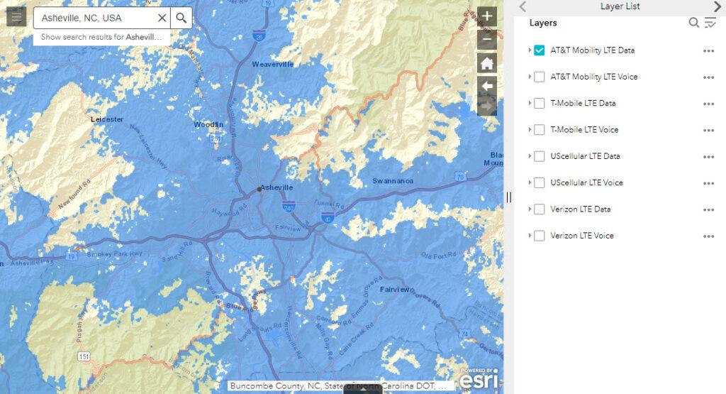 August 9, 2021 AT&T LTE 4G Data FCC Map - Metro Asheville