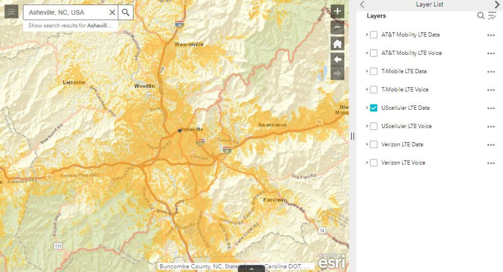 August 9, 2021 US-Cellular LTE 4G Data FCC Map - Metro Asheville