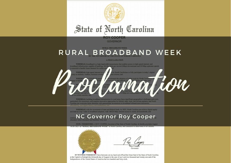NC broadband proclamation by Roy Cooper